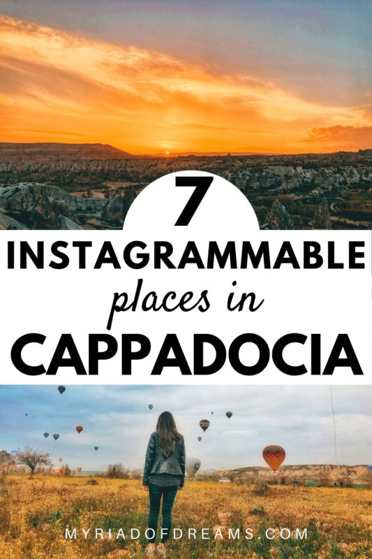 7 instagrammable places in Cappadocia Turkey | Read the post to find the best Cappadocia Turkey photography locations | Cappadocia Turkey | Best of Cappadocia | Cappadocia Hot Air Balloon | Turkey Travel Guide | Best time to visit Cappadocia | Visit Turkey | Cappadocia Instagrammable | Instagrammable places in Cappadocia Turkey | Kapadokya | #cappadocia #turkey
