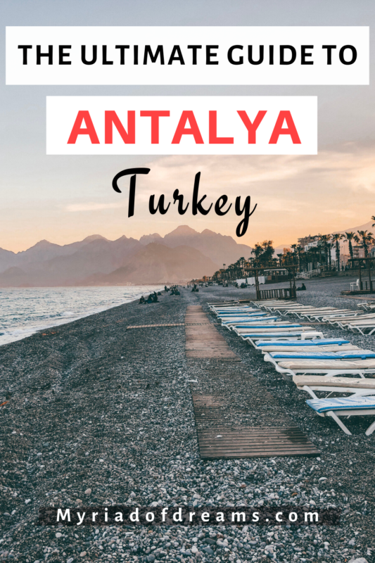 Plan a perfect city break to Antalya with this ultimate guide to Antalya, Turkey. Find out the best things to do in the city including a visit to the old town Kaleici, waterfalls, Lara and Konyaalti beaches. Travel back in time and explore the ruins of the Roman cities of Aspendos and Perge with this one-day itinerary. #antalya #turkey