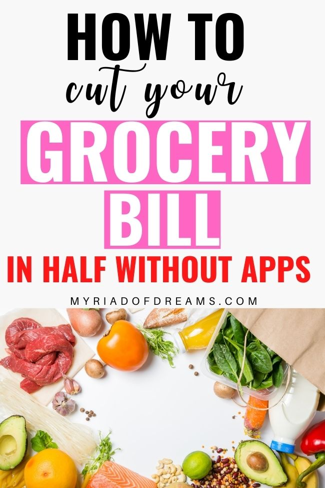 Want to cut your grocery bill in half and looking for some easy ways to save money. Stop blowing your monthly budget and learn to save money on groceries with these easy money saving hacks. Keep your finances under control with these amazing budgeting tips. 15 frugal living tips to help you stop being broke. Save money without apps and coupons. #frugal #savingmoney #savemoney #personalfinance #budgeting #moneytips