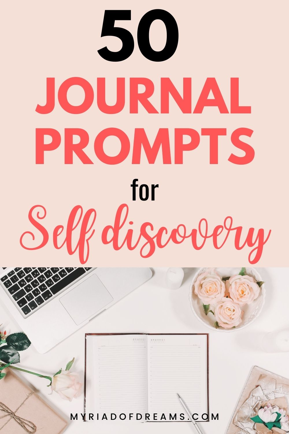 Want to start journaling but not getting ideas what to write about? Here are 50 self discovery journal prompts to help to understand your thoughts and feelings. Start your personal growth and self improvement journey with these journaling ideas. Journaling is a great way to take care of your mental health and a solid step towards self love. Journal writing prompts, journaling ideas, how to start journaling with journal prompts. #journalprompts #mentalhealth #personalgrowth #selfcare