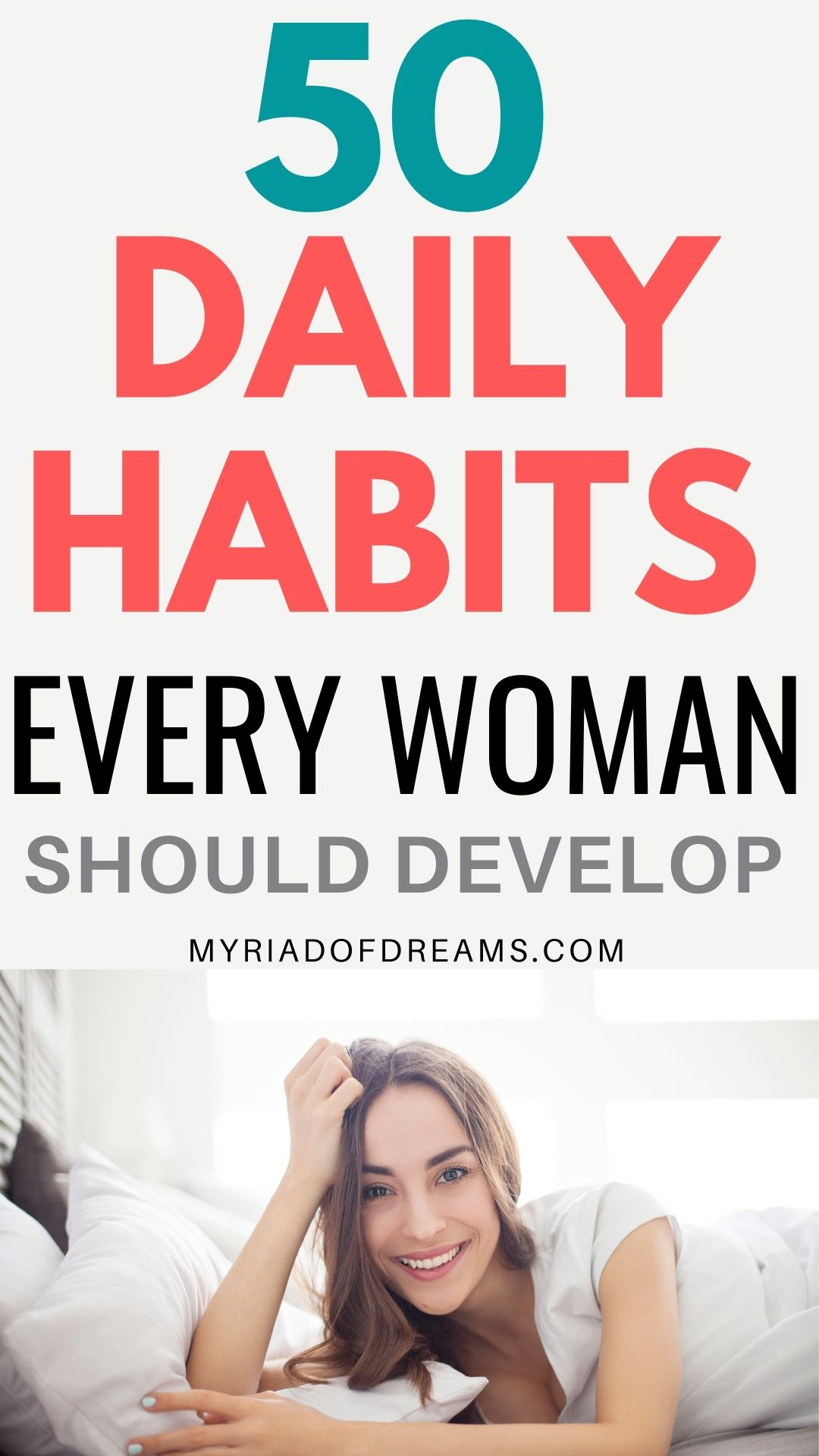 50 daily habits to include in your daily routine for a successful and happier life. Good habits to improve your life. Good daily habits to change your life. Self improvement and personal development ideas. Daily habits for personal growth. Quit bad habits and adopt healthy daily habits for a better life. Set personal goals and get your life together. How to improve yourself with daily habits. #habits #personalgrowth #dailyroutine #goodhabits #girlboss